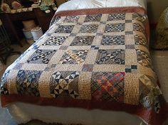 "Antique Late 1800's Handmade Hand Pieced Stitched Patchwork Quilt 74"" x 74"" | eBay, catalpa1961"