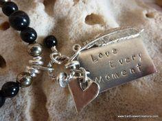 Inspirational Black Obsidian gemstone affirmation necklace with crystal energy. Handmade in Noosa, Australia. Gemstone Necklace, Heart Charm, Crystal, Vegan, Jewellery, Bracelets, Inspiration, Black, Biblical Inspiration