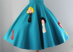 This has got to be one of the cutest 1950s novelty print (applique) circle skirts I've ever seen. #vintage #gloves #fashion