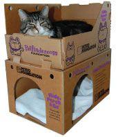 Housing description: Hide, Perch & Go Boxes. #cats #CatCondo #carboard
