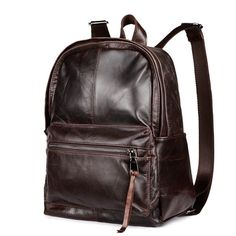 98e0a616a1 Men Vintage Style Backpack Soft Genuine Leather Casual School Laptop Travel  Bag Leather Backpack For Men