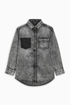 Grey Long Sleeve Distressed Denim Shirt (3-16yrs)