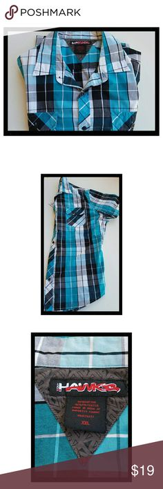 HAWK Button Shirt Tony Hawk's short sleeve button shirt. Double pockets, EUC Great color, turquoise blue and black design EUC HAWK Shirts Casual Button Down Shirts