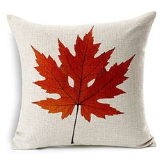 "Heartybay®Home Decorative Autumn Leaves Printing Cotton Linen Throw Pillow Cover Cushion Case 18""X18"" (red maple leaf - B) Generic http://www.amazon.com"