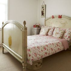 Bedroom with antique bed   Vintage-style Edwardian cottage   House tour   PHOTO GALLERY   Ideal Home   Housetohome.co.uk