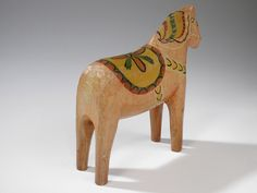 Antique Swedish Dala Horse Early Hand Painted Carved Wooden Horse | eBay