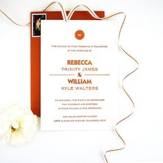 Fall Inspired Copper Foil Monogram Wedding Invitation honey-paper.com #santabarbarawedding #santaynezwedding #losolivos