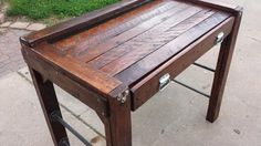 Pallet Desk - Reclaimed & Renewed into this one of a kind Scrapbooking Desk. Pallet Desk, Custom Woodworking, Basement, Dining Table, Scrapbooking, Decor Ideas, Furniture, Home Decor, Root Cellar
