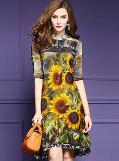 Shop for high quality Ethnic V-neck Print Half Sleeve Skater Dress online at cheap prices and discover fashion at Ezpopsy.com
