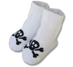 Kiditude - Skull White Baby Socks $5.95 Read more: http://www.kiditude.com/catalog/cool-baby-shoes-and-footwear/skull-white-baby-socks-826.html