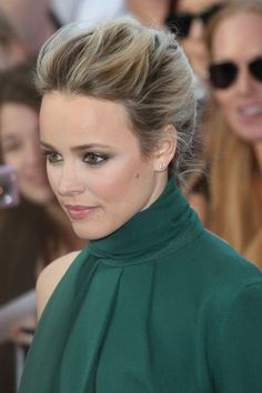 Rachel McAdams's soft makeup and aristocratic updo create a totally elegant look