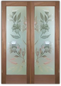 Hibiscus 2D - Double Entry Doors Hand-crafted, sandblast frosted and 3D carved.  Available as interior or entry door in 8 woods and 2 fiberglass. Slab door or prehung any size, or as glass insert only.  Our fun, easy to use online Glass and Door Designer gives you instant pricing as YOU customize your door and glass!  When you're all finished designing, you can place your order right there online!  Doors ship worldwide from Palm Desert, CA