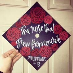 Graduation Cap ideas | Rose grad cap topper | Floral Graduation Cap idea | grad cap craft ideas
