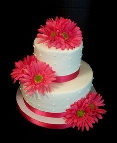 Pink Gerbera daisy wedding cake