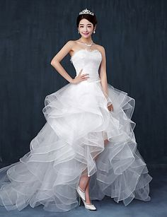A-line Wedding Dress - Chic & Modern Asymmetrical Sweetheart Lace / Tulle with Ruffle / Beading 4574835 2017 – $89.99