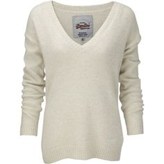 Superdry Brittany v-neck jumper ($57) ❤ liked on Polyvore featuring tops, sweaters, shirts, jumper, outerwear, cream, knitwear, women, cream top and cream shirt