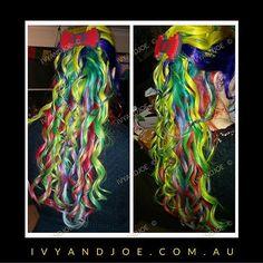 Kaleidoscope hair! #haircolor #hairoftheday #hairporn #ivyandjoe #pravana #pravanavivids #mermaidhair #nofilter #instagood #curls #longhair #colour #colour