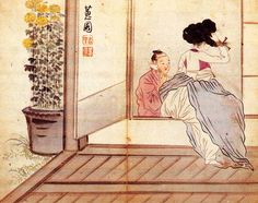(Korea) 건곤일회첩 by Hyewon Shin Yun-bok (1758- ?). ca 18th century CE. color on paper.