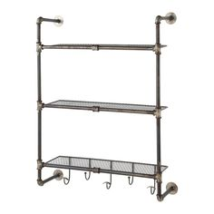 GORDON antiqued metal wall shelf ...