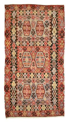 Vintage Esme Kilim Rug around 50 years old.