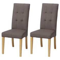 Genoa Pair of Mocha Linen Effect Dining Chairs with Oak Legs