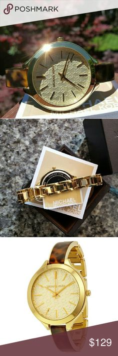 Michael Kors Runway bangle bracelet watch MK4293 Guaranteed Authentic MK4293 / Gold stainless steel with tortoise acetate bangle band / New with Michael Kors watch box and owners booklet included / Glam MK signature dial / 38mm / 5 ATM / UPC: 748579556947 / No trades, buy now or offer only / Shipped same business day in most cases Michael Kors Accessories Watches
