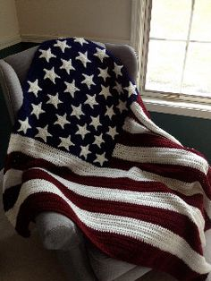 Americana Stars & Stripes Crocheted Afghan by BabyGigglesOnline, $75.00