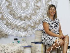 Tina Fox sits in front of her Magic Circle #crochet #art sculpture which was on display at last year's