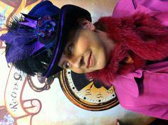 Retro G Couture Handmade Flower collage Cashmere Ribbon Top Hat Dandy Avant Garde  Women's Magician Circus Ringmaster  Alternative Fashion Victorian Edwardian Style