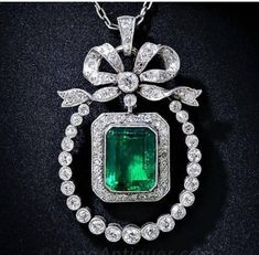 Emerald Pendant, Emerald Jewelry, Diamond Pendant Necklace, Diamond Jewelry, Diamond Brooch, Diamond Rings, Dangle Earrings, Bow Jewelry, Fine Jewelry