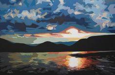 Erica Hawkes, Evening Shades, acrylic, 24 x 36.
