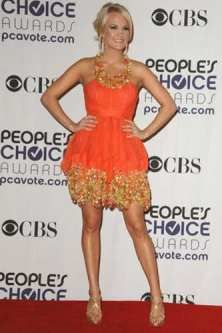 Carrie Underwood- usually Im a big fan of her outfits. Pretty adorable.