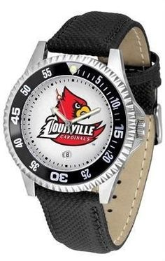 Louisville Cardinals NCAA Mens Leather Wrist Watch by SunTime. $68.95. Adjustable Band. Poly/Leather Band. Officially Licensed Louisville Cardinals Men's Leather Sports Watch. Date Calendar And Rotating Bezel. Men. The Competitor Watch With Poly / Leather Band is the hottest design in watches today! A functional rotating bezel is color-coordinated to compliment your favorite team logo. A durable long-lasting combination nylon/leather strap together with a date calendar rou...