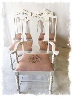 Shabby Chic Set of 5 Antique White Dining Chairs with Needlepoint Seats $275 (1 Armchair and 4 Side Chairs)