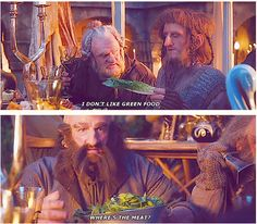 Ori... if I were there I would get him to eat it! Dwalin... I don't think Elves like meat as much as you do!