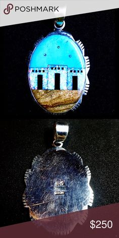 """💙 Navajo Signed Gem Mosaic Inlay Sterling Pendant 💙Vintage Navajo Native American Signed Multi Gemstone Mosaic Inlay Sterling Silver Necklace Pendant. Pueblo scene design. Circa the 1970's. Mosaic Inlay is a type of lapidary where each stone is inlaid directly against the next stone. Signed by renowned Navajo silversmith, Sarah Chee, with hallmark """"S""""& stamped sterling. She is lauded for her mastery in stone setting and inlay jewelry. Measures 2.5""""long x1.5""""wide. Gemstones featured are…"""