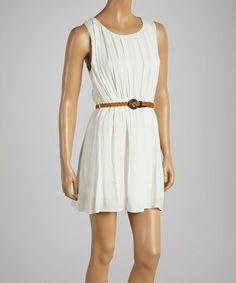 Look what I found on #zulily! White Belted Sleeveless Dress #zulilyfinds