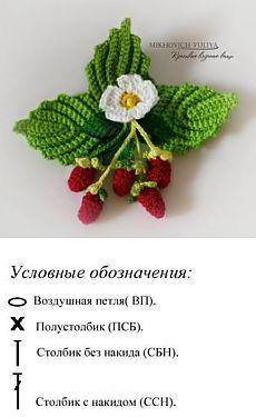 ягодные украшения крючком