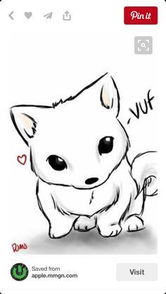 drawings adorable kawaii wolf easy chibi animal anime drawing dog