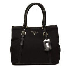 Prada Black Tessuto Soft Calf Leather Bowling Bag Medium Top Handle Handbag  with Shoulder Strap BN1841 ec76309c01cd8