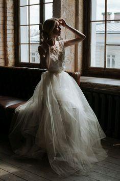 Wedding dress / Свадебное платье с вышивкой - свадебное платье, белое платье, фатин, бисер, лента атласная #beautydresses