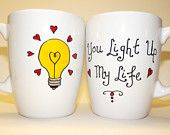 "Hand Painted Mug ""You Light Up My Life"""