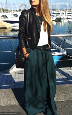 dark teal silk maxi skirt. white tee. leather jacket. Take the maxi into fall.