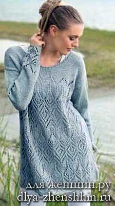 Женский пуловер спицами схема и описание