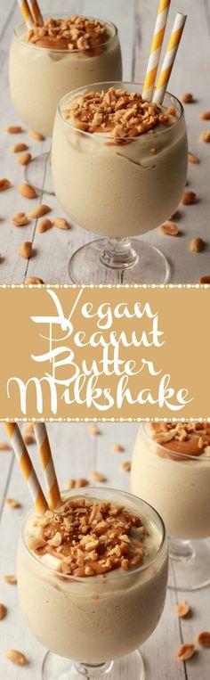Double-Thick and Ultra Creamy Vegan Peanut Butter Milkshake. Vegan | Dairy-Free | Gluten-Free | Vegan Food | Vegan Desserts