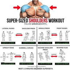 Want BIGGER Shoulders? Try this workout LIKE/SAVE IT if you found this useful. FOLLOW @musclemorph_ for more exercise & nutrition tips . *A Superset is when you do two exercises back to back with no rest between them . TAG A GYM BUDDY . ✳Enhance your prog #Studioworkouts