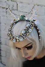 Fairy Fawn Shell con Perline Horned Fiore CORONA PIUME SIRENA Head Band