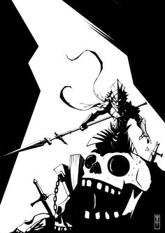 """""""Ornstein decends to the Tomb of the Giants"""". Dark Souls inspired artwork, tribute to Mike Mignola´s style. Dark Souls Art, Old Blood, Praise The Sun, Mike Mignola, Soul Art, Concept Art, Old Things, Batman, Darth Vader"""