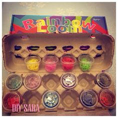 DIY storage and organization for Rainbow Loom rubber bands. 1ounce sauce cups in an egg carton. I came up with this for my BFF's daughter.