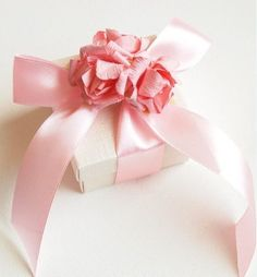 Pink and white packaging with lovely light pink ribbon and flowers. Pretty and girly.